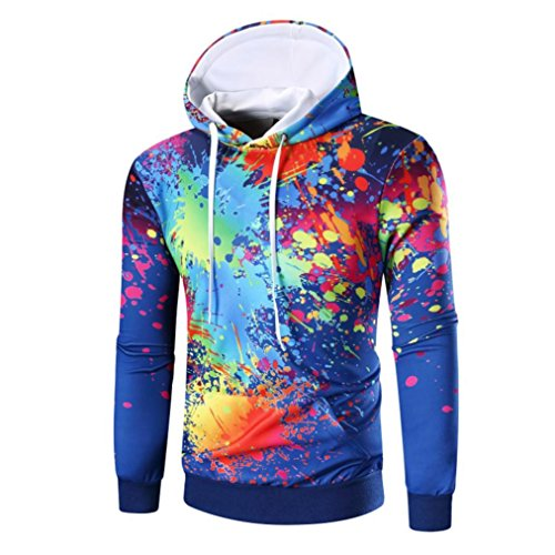Price comparison product image Men Sweatshirt, Elogoog 2017 Clearance Men Teens Long Sleeve Digital Print Hooded Top (L, Blue)