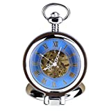 KTC Vintage Silver Color Hand-Wind Mechanical Blue Hollow Dial Roman Numeral Pocket Watch
