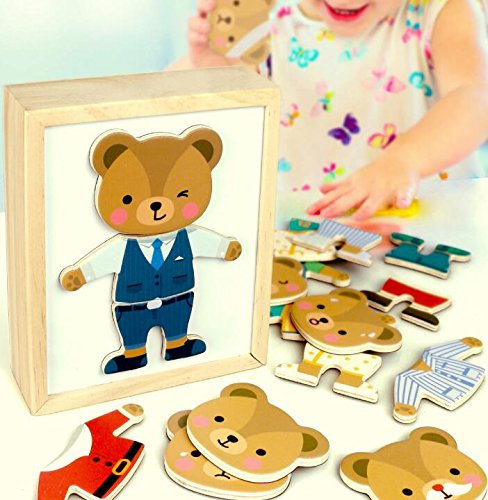 YChoice Educational Puzzle Kids Creative Wooden Educational Clothing Puzzle Early Toy Fantastic Gifts Kids(Bear) by YChoice