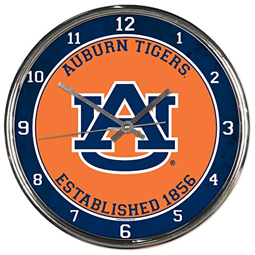 Wincraft Auburn Tigers Est 1856 12 inch Round Wall Clock Chrome Plated