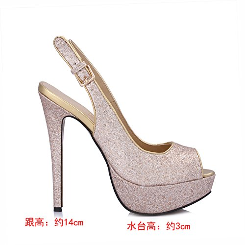 Fish nose high heels and sexy after the dinner with water desktop female high-heel shoes Pale Gold dJ4KVvak2
