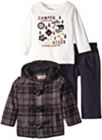 Kids Headquarters Baby Boys' Plaided Fleece Jacket with Tee and Jeans