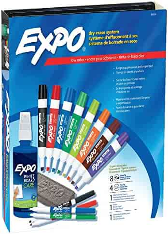 EXPO Low-Odor Dry Erase Markers, Chisel Tip, Assorted Colors, 15-Piece Set