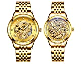 Couple Watches,Dragon and Phoenix Luxury Stainless Steel His and Hers Automatic Gold Wrist Watch 2 pcs (Gold)