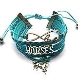 Braided Light Blue Leather Horse Bracelet