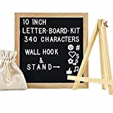 Letter Board - Black Felt Changeable Letter Boards with Oak Wood Frame, Provide Free Bonus Canvas Bag + Wall Mount + Table Stand+340 Characters
