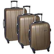 Travelers Choice Luggage Toronto Three-Piece Hardside Spinner Luggage, One Size (Gold)