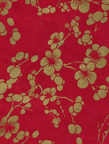 Nepalese Paper - Nepalese Cherry Blossom Paper- Gold Flowers on Red Paper 20x30 Inch Sheet