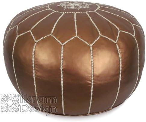 Stuffed Moroccan Pouf, Pouffe, Ottoman, Poof, Color Matte Bronze