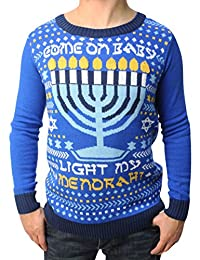 Ugly Christmas Sweater Teen Boy's Come On Baby Light My Menorah LED Hanukkah Sweater