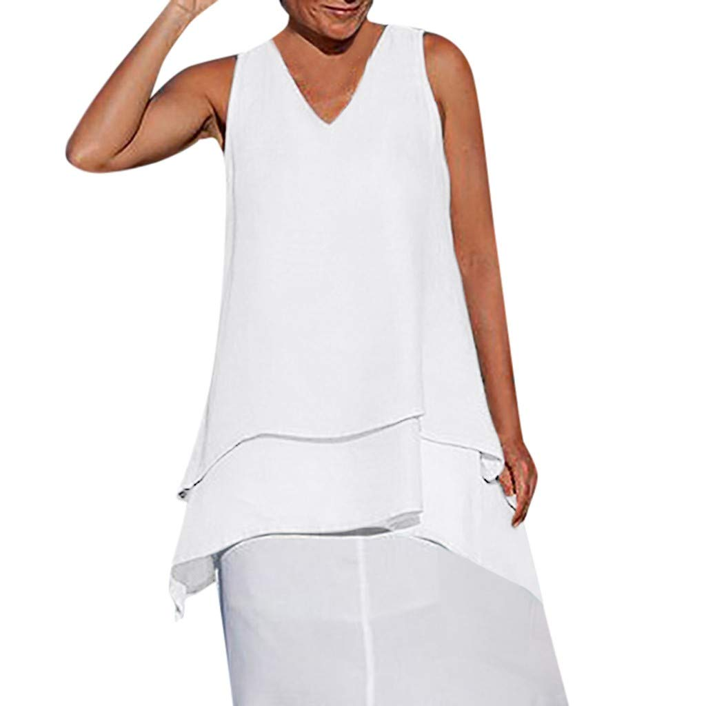 Alangbudu Women Loose Chiffon Tank Top V Neck Summer High Low Irregular Hem Layered Look T-Shirt Flowy Swing Dress White