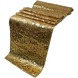 Liva Home Pack Of 1 Wedding 13 x 108 inch Sequin Table Runner Wedding Banquet Decoration (1, GOLD)