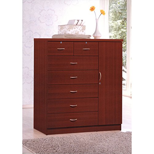 Excellent Seven Drawer One Door Chest, Instant Storage Solution, Gives You Plenty of Room to Organize Clothes and Assign Everything a Proper Place, Sturdy Materials, Mahogany + Expert Guide