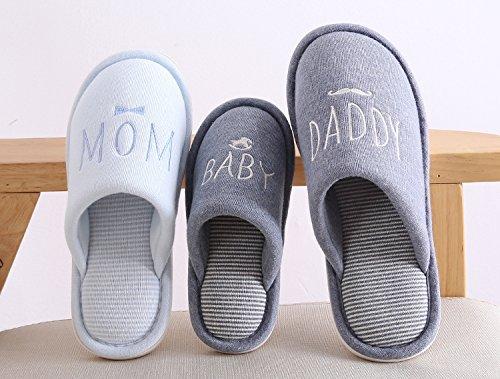 Cystyle Herbst Winter Vater Mutter und Kinder Baby Familie Matching Wärme Weiche Leicht Plüsch Pantoffeln Slipper Mom/Blau