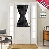 40 inch long door curtain panels - French Door Curtains Black Faux Silk Privacy French Door Panels 40 inches Long Satin French Door Curtain Panels with 1 Bonus Tieback, 1 Panel
