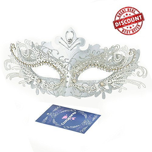 [Masquerade Masks, Cozypony Lacer Cut Luxury Princess Venetian Ball Masks with Rhinestone for Halloween Mardi Gras Party or Wedding (One Size,] (Silver Mask)