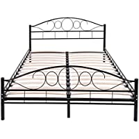 Queen Size Wood Slat Steel Bed Frame Black Platform Headboard Footboard Bedroom