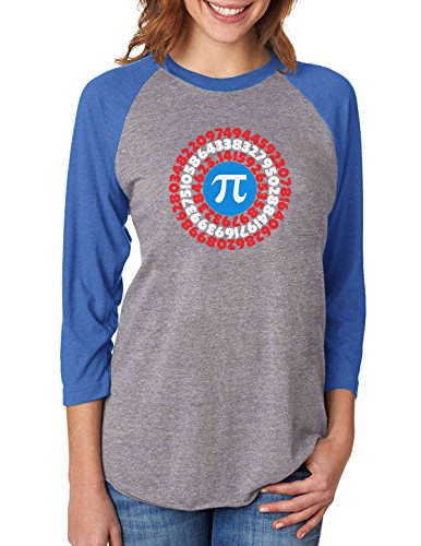 Tstars Pi Day Superhero - Captain Pi Gift 3/4 Women Sleeve Baseball Jersey Shirt XX-Large Blue/Gray -
