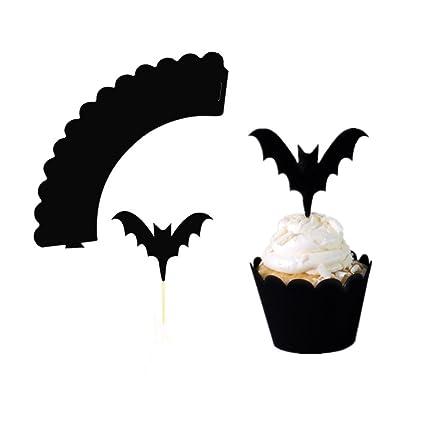 BESTOYARD Kuchen Dekoration Set Halloween Fledermaus Muster eingefasst Cupcake Toppers Dekore Party Supplies 24st