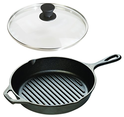 - Lodge Seasoned Cast Iron Cookware Set - Grill Pan with Tempered Glass Lid (10.25 Inch)
