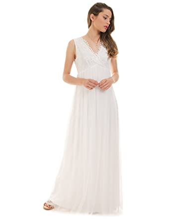 21be333ad3 VILA CLOTHES White Pleated Dress Viulricana (White - 40): Amazon.co ...