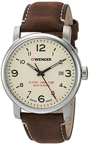 Wenger-Mens-Urban-Metropolitan-Swiss-Quartz-Stainless-Steel-and-Leather-Casual-Watch-ColorBrown-Model-011041138