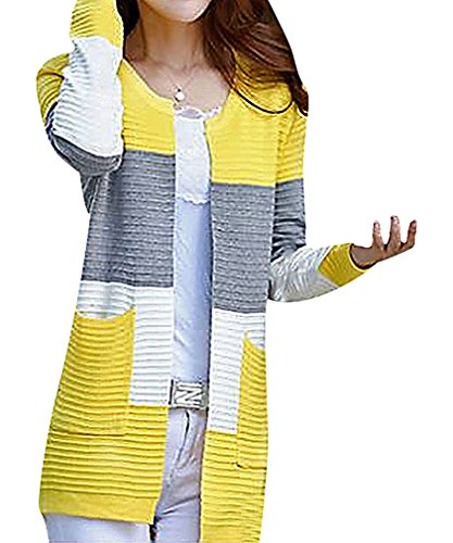 Maze, Women's Panelled Pocketed Long Sleeve Crew Neck Ribbed Midi Cardigan, Yellow One Size