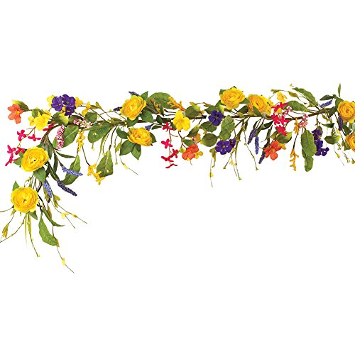 Collections Etc Colorful Yellow Rose & Mixed Wildflower Artificial Floral Garland (Spring Garland)