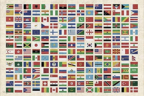 Flags of the World Tapestry Wall Hanging by Artist Dan Morris FREE Dan Morris Decal Included