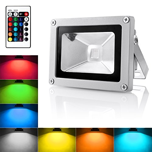 Outdoor LED Flood Light, 10W RGB Color Changing Waterproof Security Lights with US 3-Plug & Remote Control