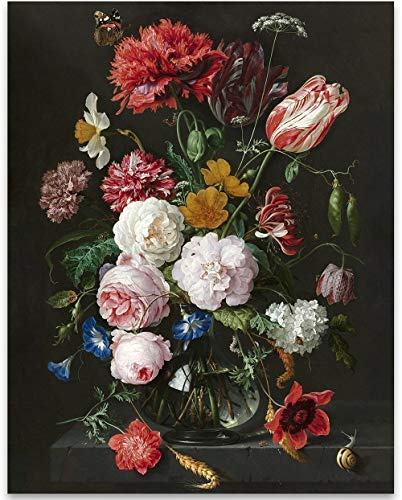 Still Life with Flowers in a Glass Vase, Jan Davidsz. de Heem - 11x14 Unframed Art Print - Great Home Decor and Gift for Gardeners from Personalized Signs by Lone Star Art