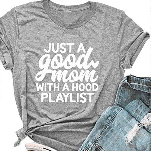 Tsun Women Just a Good Mom Letter Print Tee Round Neck Short Sleeve T-Shirt Tops