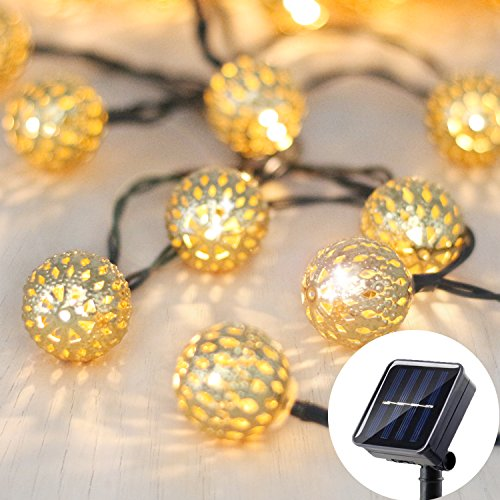 Betus Solar Outdoor String Lights, Moroccan globe Waterproof LED Fairy String Light - Decorations for Garden, Porch, Home, Christmas, Wedding & Party – 30 LEDs, 15 Feet, Warm White - 15' Led Light String