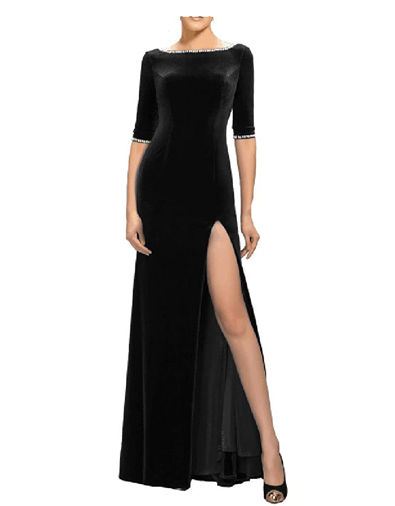 Amazon.com: FWVR Womens Bead High Slit Mermaid Formal Long Velvet Evening Dresses with Sleeves: Clothing