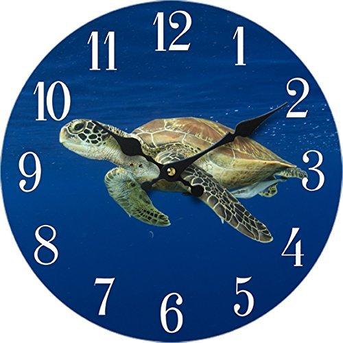 New 13''X13'' Turtle Wood Wall Clock Home Wall Decor Marine Coastal Nautical Beach
