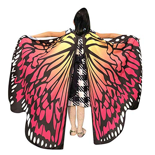 (JOFOW Children Halloween Carnival Costume Butterfly Wings Gradient Party Festival Props Shawl Nymph Pixie Accessory (Freesize,Red)