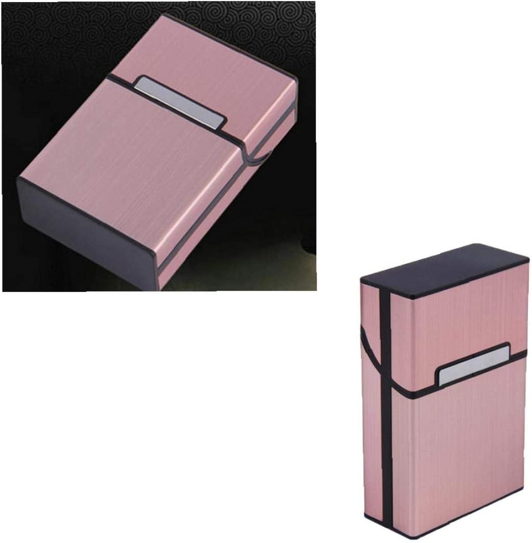 Caja port/átil de metal de cigarrillos del bolsillo de aluminio durable de la caja del sostenedor del cigarro del tabaco de oro rosa