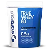 Sports Food True Whey 80 - 100% Pure Protein Concentrate (Triple Chocolate, 1/2 lbs) Low Carb & Sugar Free, Clean Performance & Weight Loss Protein Powder, Only 5 Ideal Ingredients