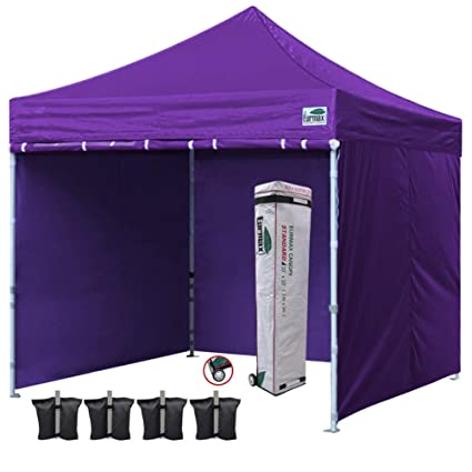 Eurmax 10'x10' Ez Pop-up Canopy Tent Commercial Instant Tent with 4  Removable Zipper End Side Walls and Roller Bag, Bonus 4 SandBags(Purple)