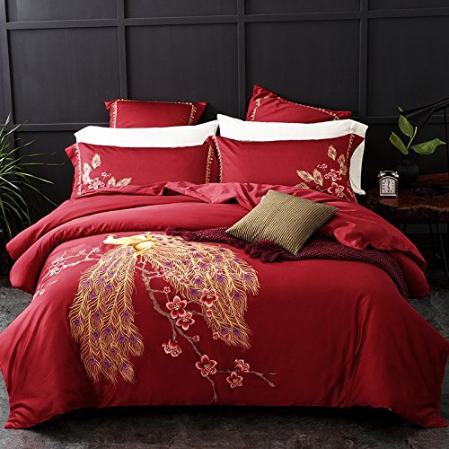 Fly Wing To Wing Wedding Bedding Embroidered Peacock Duvet Cover Set Flat Sheet Pillow Cover Full Red