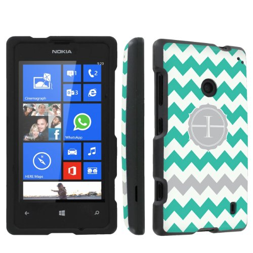 SkinGuardz Nokia Lumia 520 Full Protection Hard Case - (Mint Chevron Monogram Initial I Black)