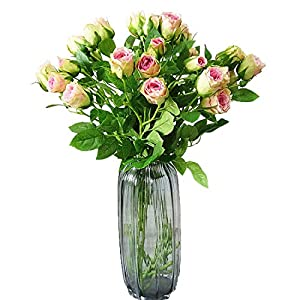 Calcifer 6 Sets (4 Stems/Set) 27.56'' Rosa Chinensis Jacq.Chinese Rose Bouquets Rosaceae Flowers Artificial Flowers for Wedding Party Home Garden Office Shop Decoration 95