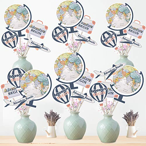 24 Pieces Let The Adventure Begin Party Supplies Bon Voyage Travel Themed Party Centerpiece Stickers Table Toppers World Map Photo Booth Props ()