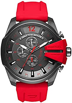 Diesel Men's Chronograph Mega Chief Red Silicone Strap Watch