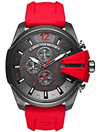 Men's Mega Chief Quartz Stainless Steel and Silicone Chronograph Watch, Color: Grey, Red (Model: DZ4427)