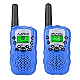Qianghong T3 Kids Walkie Talkies 3-12 Year Old Children's Outdoor Toys Mini Two Way Radios UHF 462-467 MHz Frequency 22 Channels - 1 Pair Blue