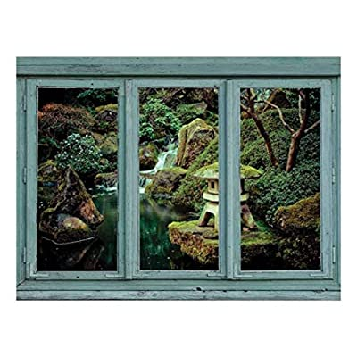Elegant Craft, Quality Artwork, Vintage Teal Window Looking Out Into a Lake with a Waterfall and Small Shrine Statue Wall Mural