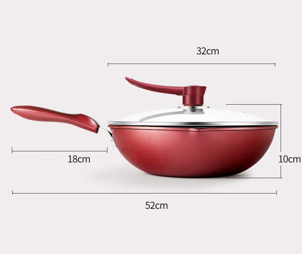 WYQSZ Wok - Non-stick multi-function household cooking pot wok exquisite and durable wok -fry pan 2365 (Design : A, Edition : With lid) by WYQSZ (Image #2)