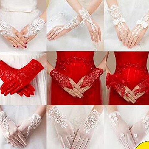 Elegant Lady Formal Banquet Party Bride Pierced Lace Wedding Gloves Bridal Gloves, NO.19 by Kylin Express (Image #1)