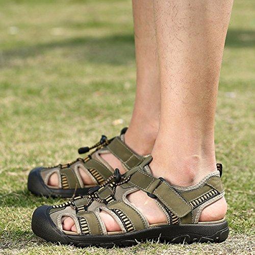 Gran Playa Khaki De Zapatos De Velcro Tamaño Deportivas Deportivo Verano De Sandalias Piel LXXAMens Calzado Peso Trekking Ligero UqxPwCTnf
